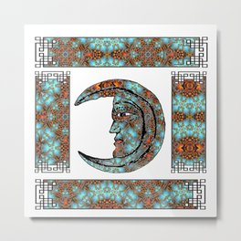 Feminine Symbol  Moon Portrait Illustration in Bohemian Style Metal Print