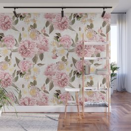 Vintage & Shabby Chic - Antique Sepia Summer Day Roses And Peonies Botanical Garden Wall Mural