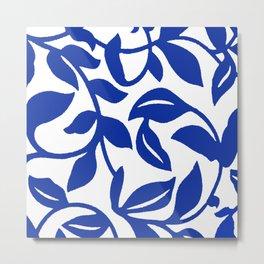 PALM LEAF VINE SWIRL BLUE AND WHITE PATTERN Metal Print