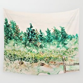 Back Yard HF1 Watercolor Monoprint Wall Tapestry