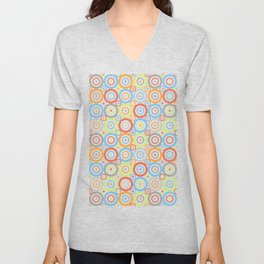 Abstract Circles Repeat Pattern Color Mix & Greys Unisex V-Neck