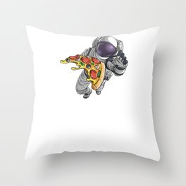 Spaced Out Astronaut Pizza Outserspace Science Geek Throw Pillow