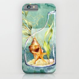 Watercolor Under Sea Collection: Shells in a Bottle iPhone Case