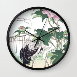 Two Cranes And Peony Flowers - Vintage Japanese Woodblock Print Art By Kono Bairei Wall Clock