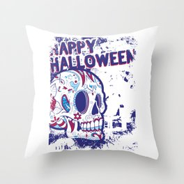 Happy Halloween Floral Sugar Skull Throw Pillow
