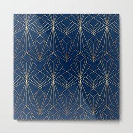 Navy Blue Art Deco Metal Print