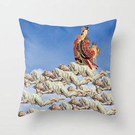 EVERYBODY'S SLEEPING SOUNDLY... DREAMING OF THE PRINCESS AND HER DEER... IN THE SKY Throw Pillow
