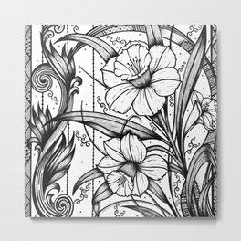 Square Tile Daffodils Ink Art Metal Print
