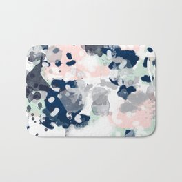 Melia - abstract minimal painting acrylic watercolor nursery mint navy pink Bath Mat