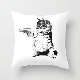 Gun Cat Throw Pillow