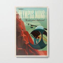 SpaceX Travel Poster: Olympus Mons, Mars Metal Print