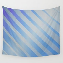 Blue and Silver Diagonals Wall Tapestry
