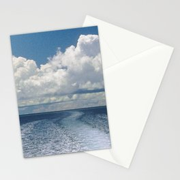 Dramatic Boat Wake to the Horizon and Clouds Stationery Cards