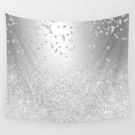 Modern silver glitter ombre metallic sparkles confetti Wall Tapestry