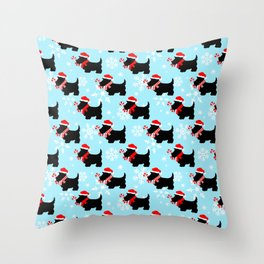 Christmas Scottie Dogs Pattern Throw Pillow