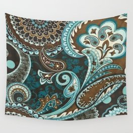 Turquoise Brown Vintage Paisley Wall Tapestry