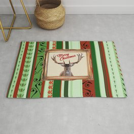 Reindeer Head with Frame and Stripes Wallpaper green Rug