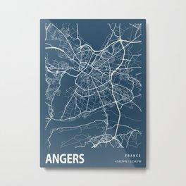 Angers Blueprint Street Map, Angers Colour Map Prints Metal Print