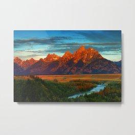 Grand Tetons - Jackson Hole, Wyoming in Autumn Metal Print