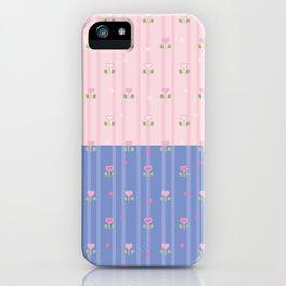 pastel bicolor seamless kawaii pattern iPhone Case