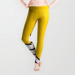 Minimal geometric yellow black modern Leggings