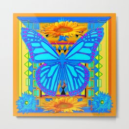 Baby Blues Butterfly Gold Art Metal Print