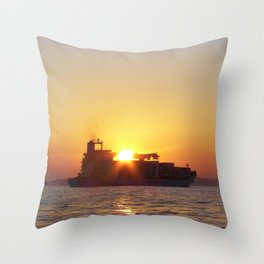 Container Ship At Sunset Throw Pillow