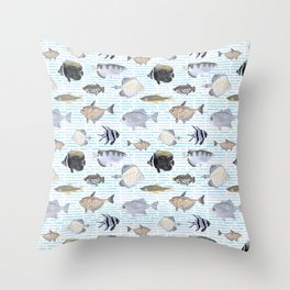 Fish Pattern - Cool Seacoast Watercolor Throw Pillow
