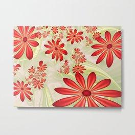 Dancing Red Flowers, Fractals Art Metal Print