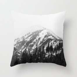 Fading Mountain Winter - Snow Capped Nature Photography Throw Pillow