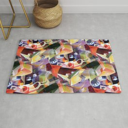 Contemporary Abstract in Modern Geometric Cubism Style Rug