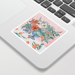 California Summer Bouquet - Oranges and Lily Blossoms in Blue and White Urn Sticker