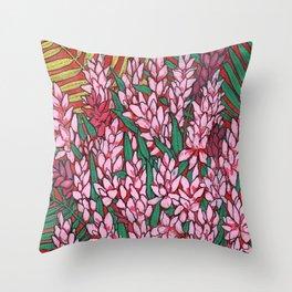Pink Cone Ginger, Alpinia purpurata, Ostrich Plume Tropical Flowers Throw Pillow