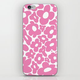 60s 70s Hippy Flowers Pink iPhone Skin