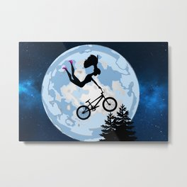 Doll Riding A BMX - ET Style - With Pink Stilettos! Cool Barbie Art! Metal Print