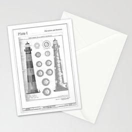 Vintage Bodie Island Lighthouse Diagram Stationery Cards