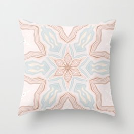 Southwestern Soft Pink Clay Marble Petals Kaleidoscope Abstract Digital Painting Throw Pillow