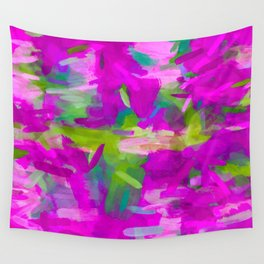 splash painting abstract texture in purple pink green Wall Tapestry