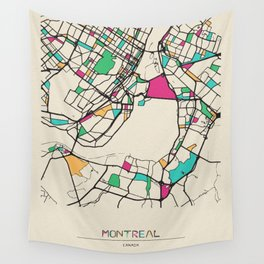 Colorful City Maps: Montreal, Canada Wall Tapestry