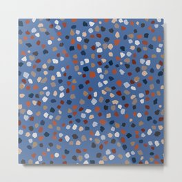 Terrazzo French Blue & Rust Earth breeze collection 2 _ oil painting Metal Print