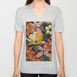 Night Forest, Colorful Dark Eclectic Floral Nature Botanical Jungle Floral Bohemian Illustration Unisex V-Neck