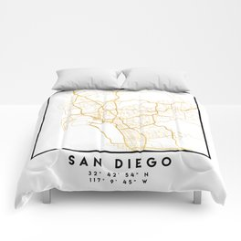 SAN DIEGO CALIFORNIA CITY STREET MAP ART Comforters