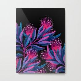Pohutukawa - Pink / Blue Metal Print