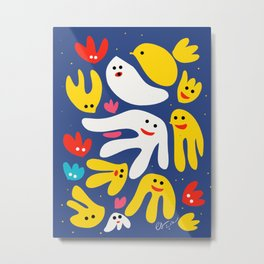 Yellow Bird and Friends in the Night Illustration for Kids  Metal Print