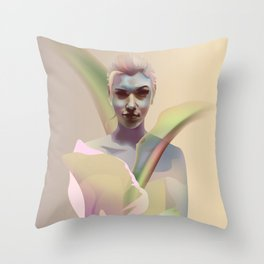 portrait with flower Throw Pillow