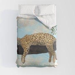 Sleepy Jaguar Hanging on a Branch Comforters