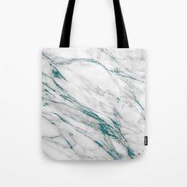 Gray Marble Aqua Teal Metallic Glitter Foil Style Tote Bag