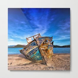 Abandoned Blue Ship at the Edge of the World Metal Print