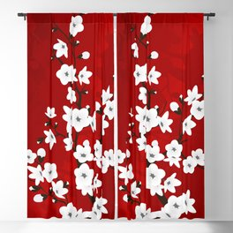 Red Black And White Cherry Blossoms Blackout Curtain