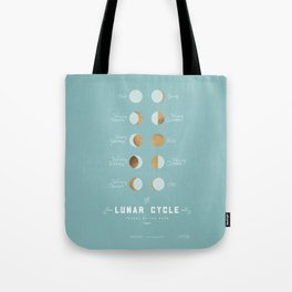 The Lunar Cycle • Phases of the Moon – Copper & Robin's Egg Blue Palette Tote Bag